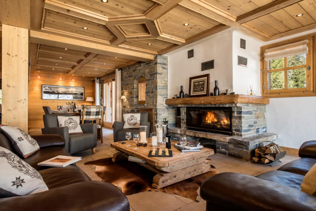 The Sitting Room In Luxury Ski Chalet Aster In Courchevel 1650