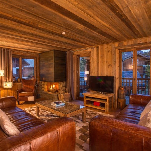 The Sitting Room And Tv In Luxury Ski Chalet Loup Blanc In Courchevel Le Praz