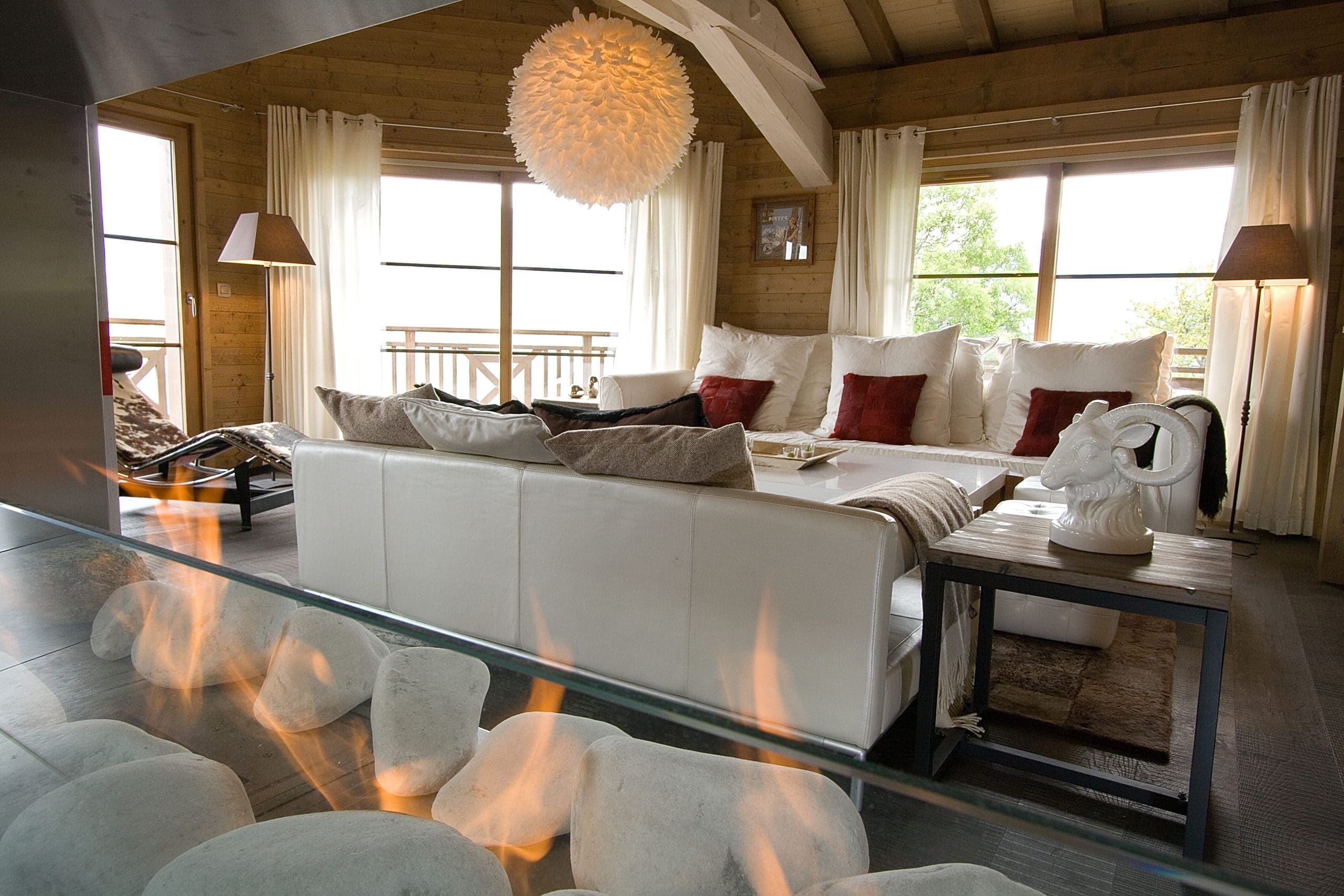 Sitting Room And Fire In Our Luxury Ski Chalet Igloo